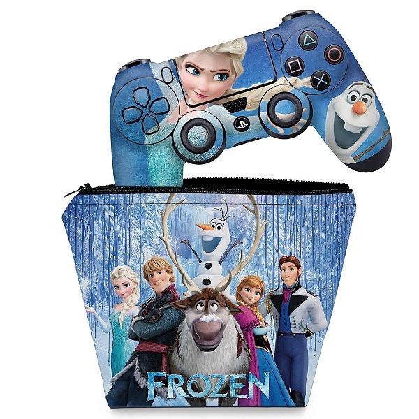 KIT Capa Case e Skin PS4 Controle  - Frozen