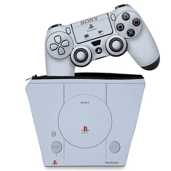 KIT Capa Case e Skin PS4 Controle  - Sony Playstation 1