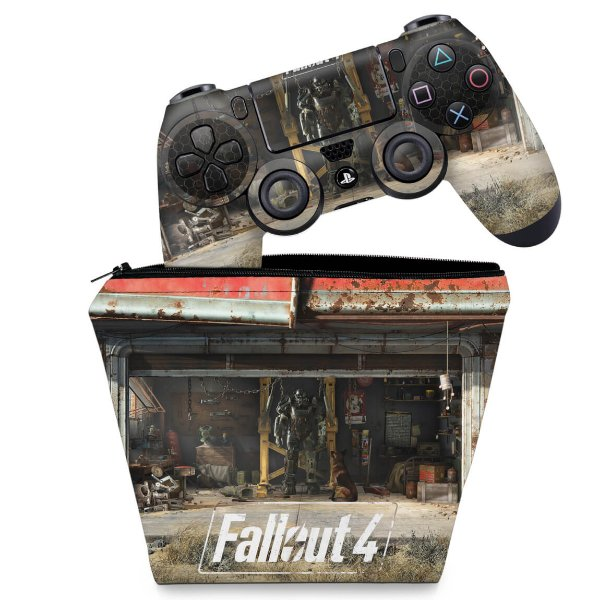 KIT Capa Case e Skin PS4 Controle  - Fallout 4