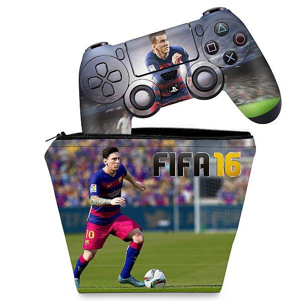 KIT Capa Case e Skin PS4 Controle  - Fifa 16