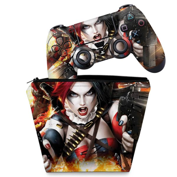 KIT Capa Case e Skin PS4 Controle  - Harley Quinn - Arlequina #B