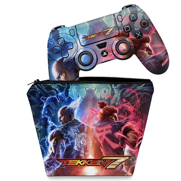 KIT Capa Case e Skin PS4 Controle  - Tekken 7