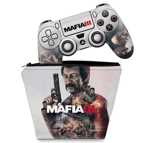 KIT Capa Case e Skin PS4 Controle  - Mafia 3