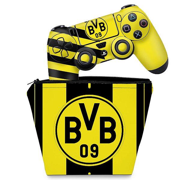 KIT Capa Case e Skin PS4 Controle  - Borussia Dortmund Bvb 09