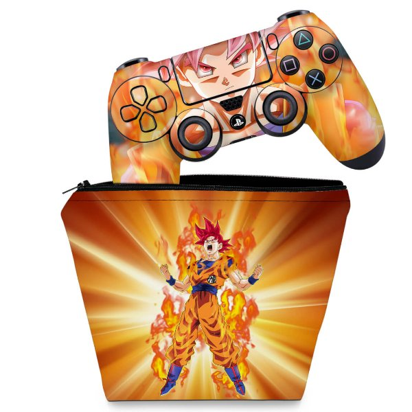KIT Capa Case e Skin PS4 Controle  - Dragon Ball Super Goku