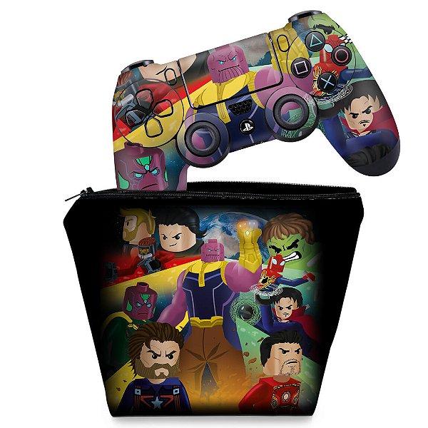 KIT Capa Case e Skin PS4 Controle  - Lego Avengers Vingadores