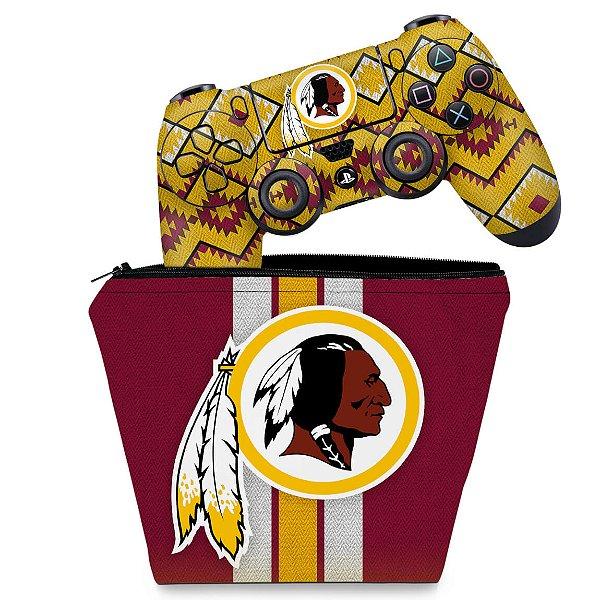 KIT Capa Case e Skin PS4 Controle  - Washington Redskins Nfl