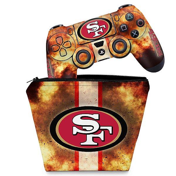 KIT Capa Case e Skin PS4 Controle  - San Francisco 49Ers - Nfl