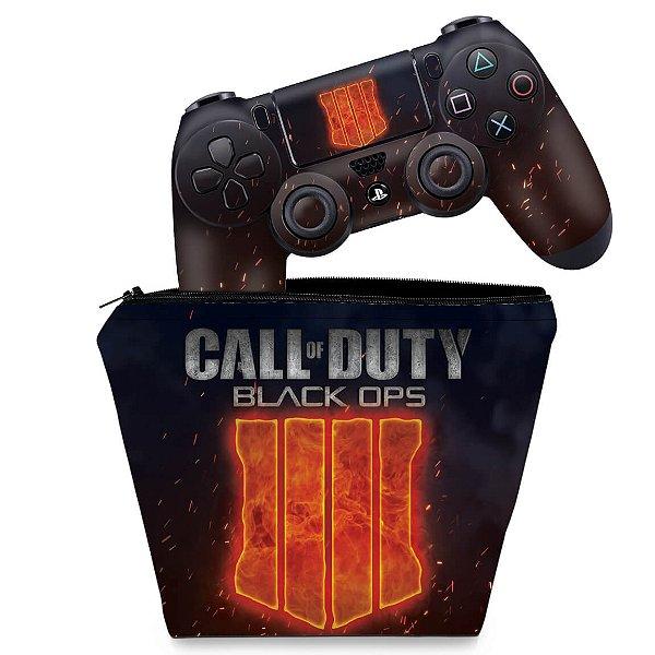 KIT Capa Case e Skin PS4 Controle  - Call Of Duty Black Ops 4