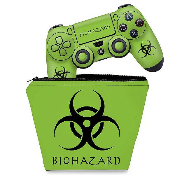 KIT Capa Case e Skin PS4 Controle  - Biohazard Radioativo