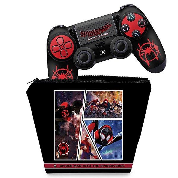 KIT Capa Case e Skin PS4 Controle  - Homem-Aranha No Aranhaverso