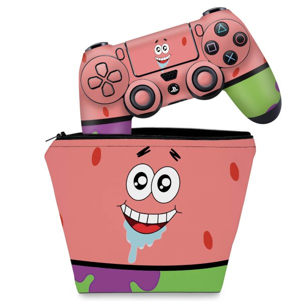 KIT Capa Case e Skin PS4 Controle  - Patrick Bob Esponja