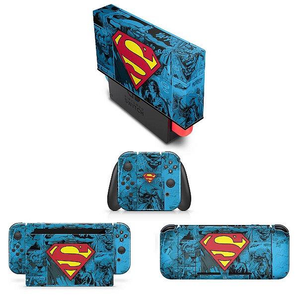 KIT Nintendo Switch Skin e Capa Anti Poeira - Superman Comics