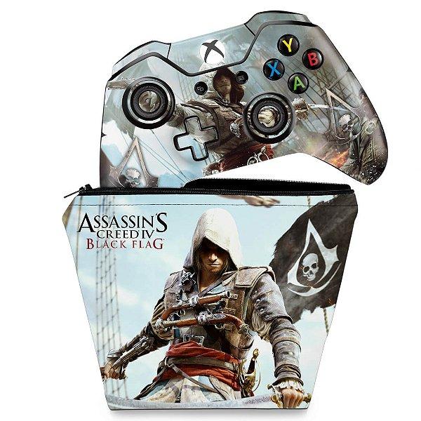 KIT Capa Case e Skin Xbox One Fat Controle - Assassins Creed Black Flag