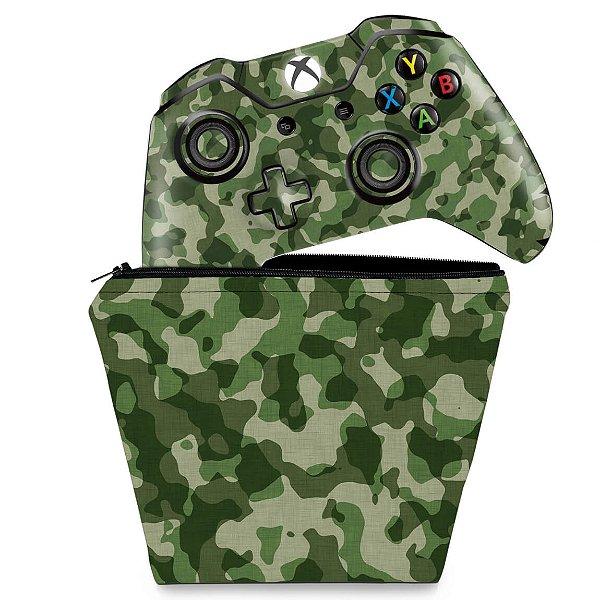 KIT Capa Case e Skin Xbox One Fat Controle - Camuflagem Verde
