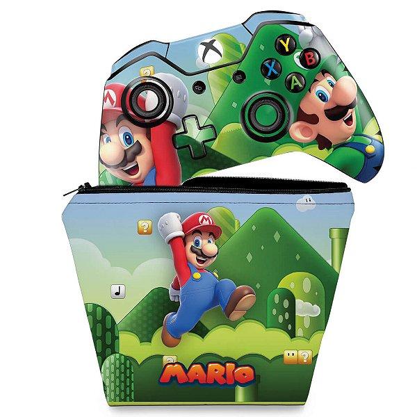 KIT Capa Case e Skin Xbox One Fat Controle - Super Mario Bros