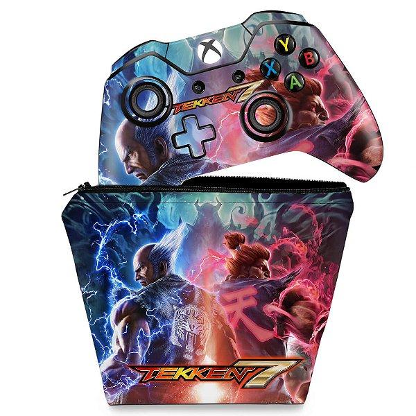 KIT Capa Case e Skin Xbox One Fat Controle - Tekken 7