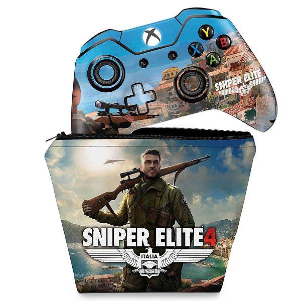 KIT Capa Case e Skin Xbox One Fat Controle - Sniper Elite 4