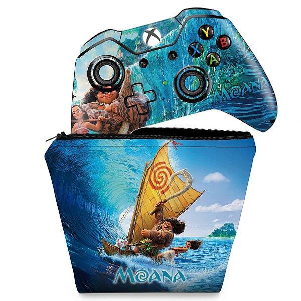 KIT Capa Case e Skin Xbox One Fat Controle - Disney Moana
