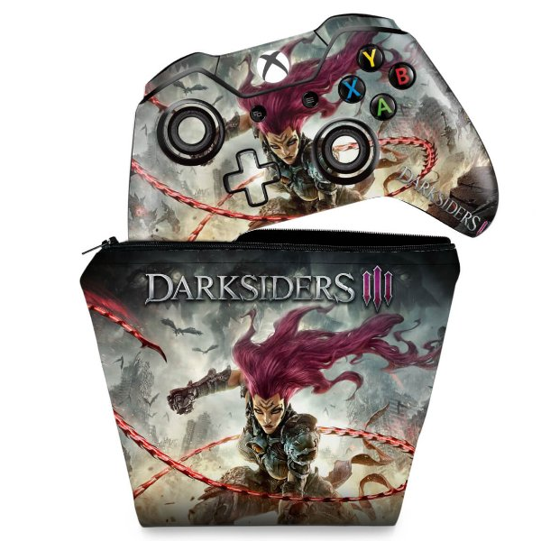 KIT Capa Case e Skin Xbox One Fat Controle - Darksiders 3