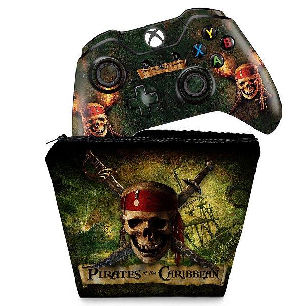 KIT Capa Case e Skin Xbox One Fat Controle - Piratas do Caribe