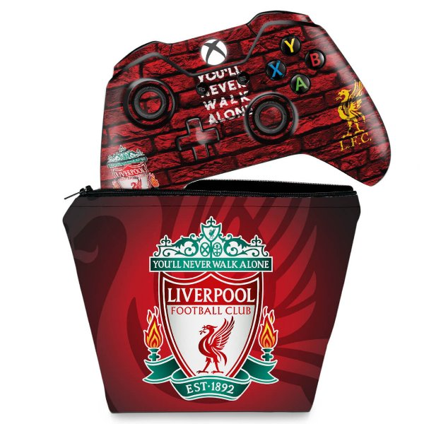 KIT Capa Case e Skin Xbox One Fat Controle - Liverpool