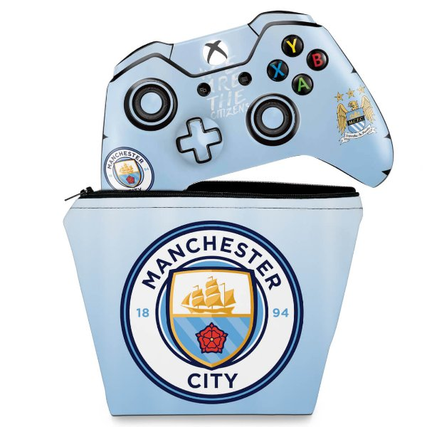 KIT Capa Case e Skin Xbox One Fat Controle - Manchester City FC