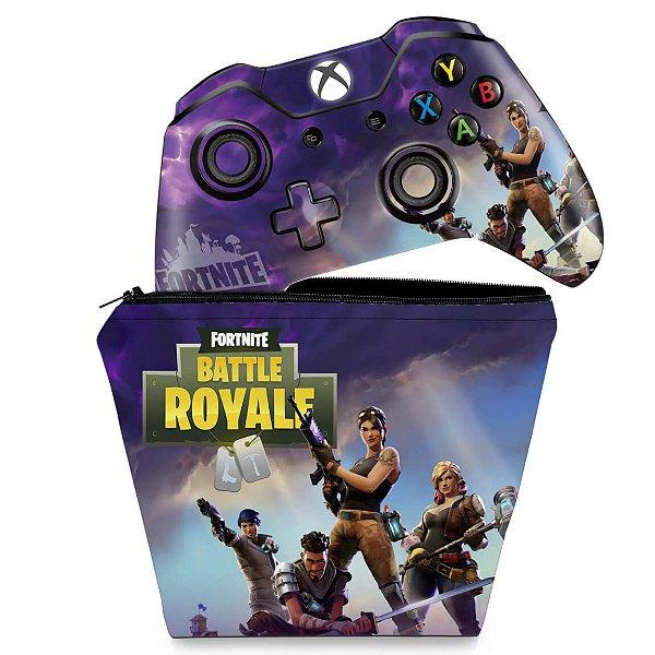KIT Capa Case e Skin Xbox One Fat Controle - Fortnite Battle Royale