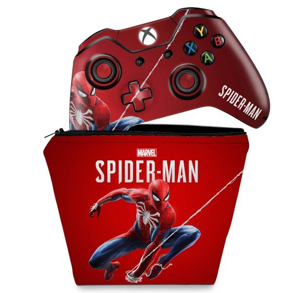 KIT Capa Case e Skin Xbox One Fat Controle - Homem Aranha Spider-man