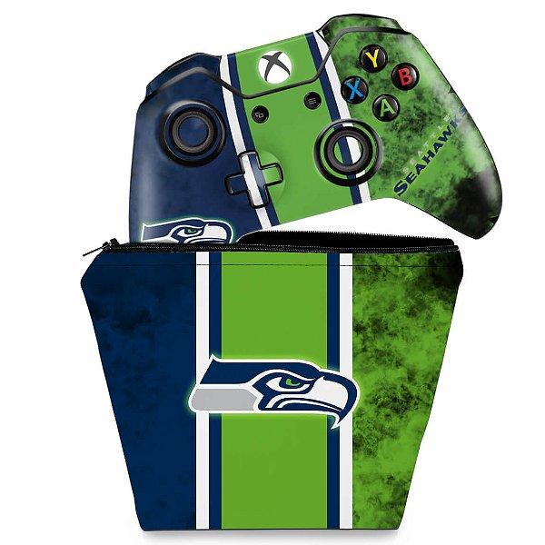 KIT Capa Case e Skin Xbox One Fat Controle - Seattle Seahawks - NFL