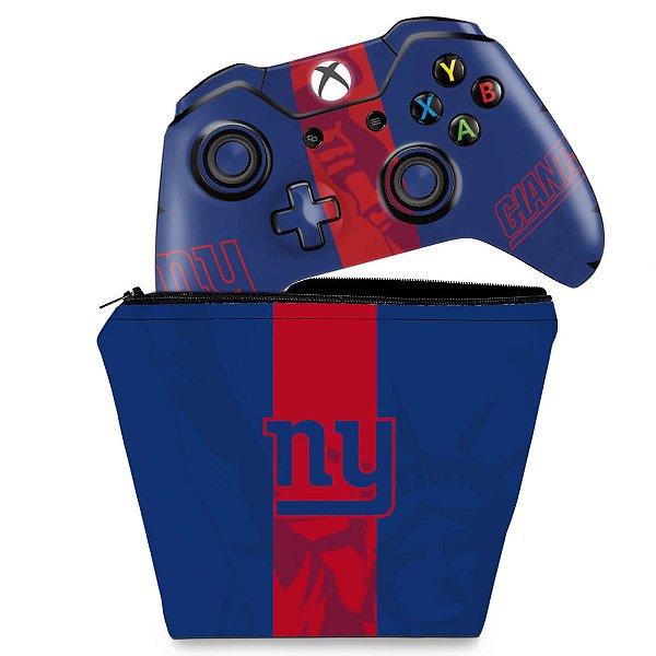 KIT Capa Case e Skin Xbox One Fat Controle - New York Giants - NFL