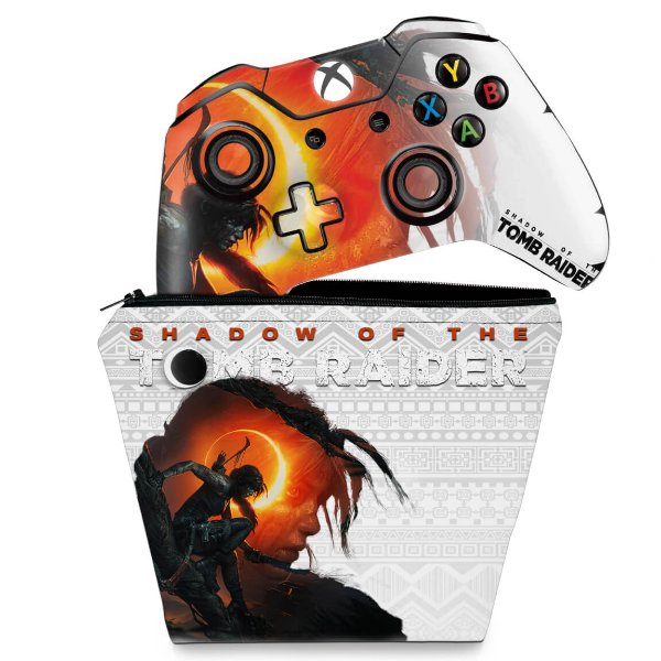 KIT Capa Case e Skin Xbox One Fat Controle - Shadow Of The Tomb Raider