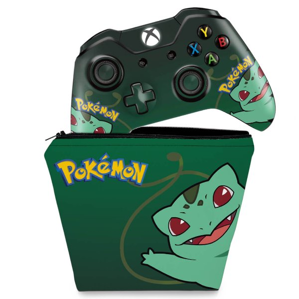 KIT Capa Case e Skin Xbox One Fat Controle - Pokemon Bulbasaur