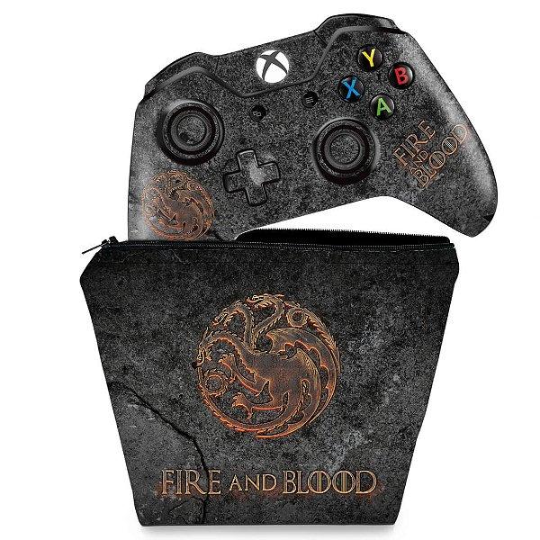KIT Capa Case e Skin Xbox One Fat Controle - Game of Thrones Targaryen