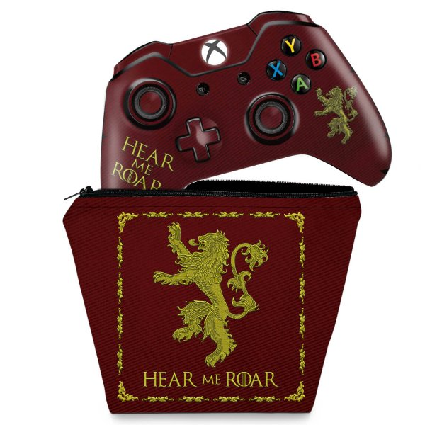 KIT Capa Case e Skin Xbox One Fat Controle - Game Of Thrones Lannister