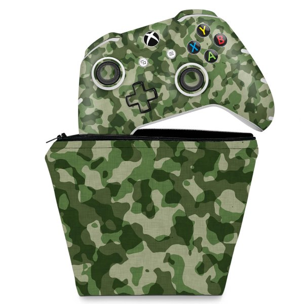 KIT Capa Case e Skin Xbox One Slim X Controle - Camuflagem Verde