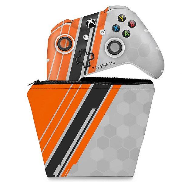 KIT Capa Case e Skin Xbox One Slim X Controle - Titanfall Edition