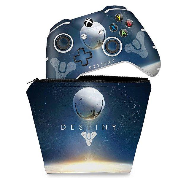 KIT Capa Case e Skin Xbox One Slim X Controle - Destiny