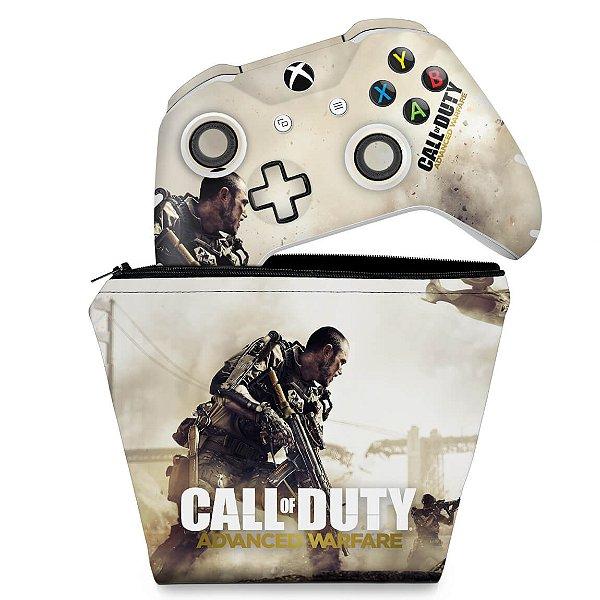 KIT Capa Case e Skin Xbox One Slim X Controle - Call of Duty Advanced Warfare