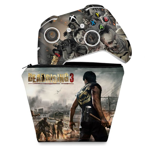 KIT Capa Case e Skin Xbox One Slim X Controle - Dead Rising 3