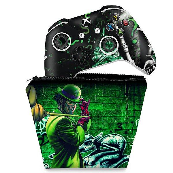 KIT Capa Case e Skin Xbox One Slim X Controle - Charada Batman