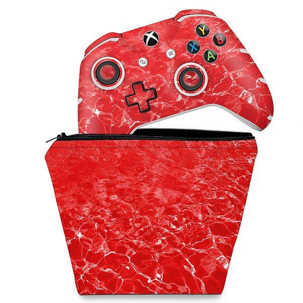 KIT Capa Case e Skin Xbox One Slim X Controle - Aquático Água Vermelha