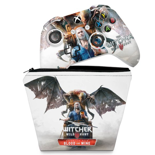 KIT Capa Case e Skin Xbox One Slim X Controle - The Witcher 3 Blood And Wine