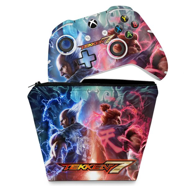 KIT Capa Case e Skin Xbox One Slim X Controle - Tekken 7