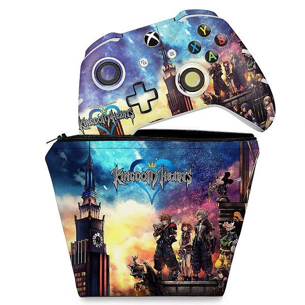 KIT Capa Case e Skin Xbox One Slim X Controle - Kingdom Hearts