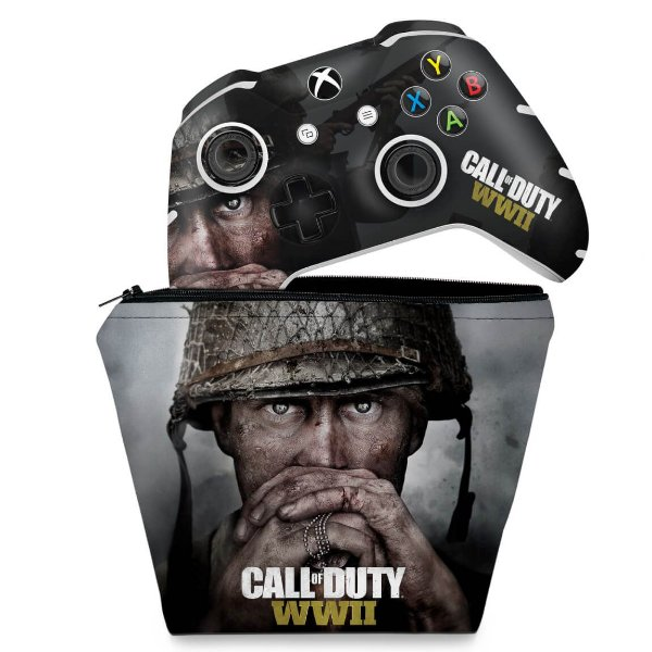 KIT Capa Case e Skin Xbox One Slim X Controle - Call of Duty WW2