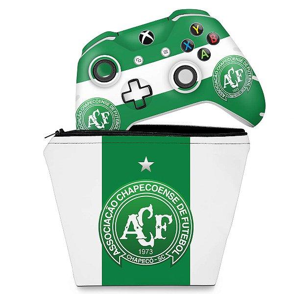 KIT Capa Case e Skin Xbox One Slim X Controle - Chapecoense Chape