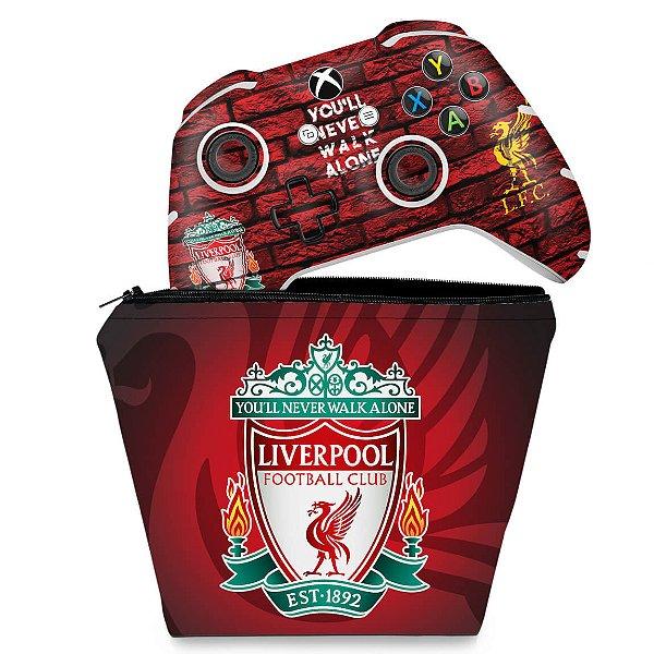 KIT Capa Case e Skin Xbox One Slim X Controle - Liverpool