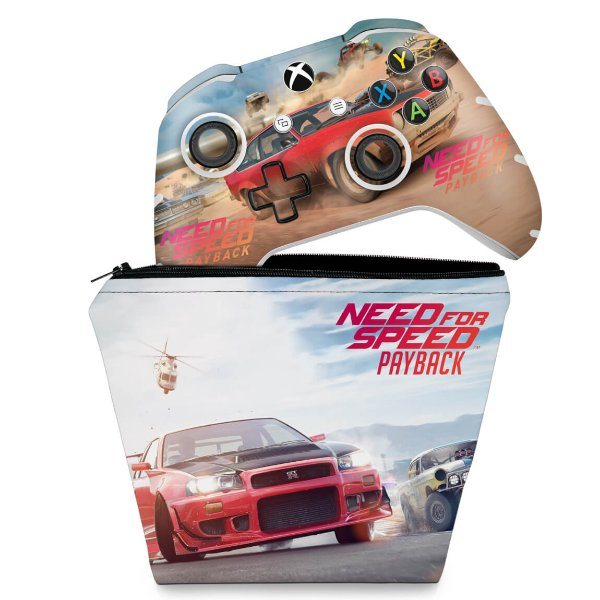 KIT Capa Case e Skin Xbox One Slim X Controle - Need For Speed Payback