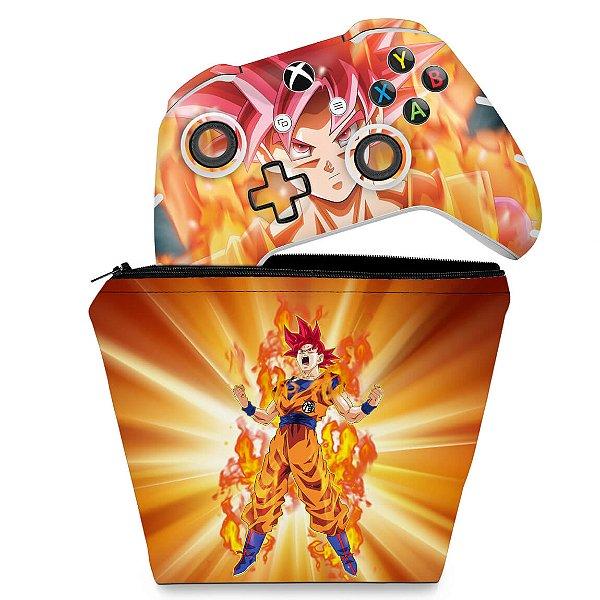 KIT Capa Case e Skin Xbox One Slim X Controle - Dragon Ball Super Goku
